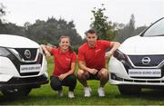 2 September 2019; In attendance during the launch of the FAI and Nissan Sponsorship at FAI Headquarters in Abbotstown, Dublin, are Republic of Ireland captains Katie McCabe and Seamus Coleman. Photo by Ramsey Cardy/Sportsfile