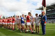 1 September 2019; Respect hand shake prior to the Electric Ireland GAA Football All-Ireland Minor Championship Final match between Cork and Galway at Croke Park in Dublin. Photo by Eóin Noonan/Sportsfile