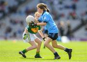 1 September 2019; Olivia Shannon, St. Brigid's, Tinahely, Wicklow, representing Dublin, in action against Eimear McGahan, Our Lady's PS, Tullysaran, Dungannon, Tyrone, representing Kerry, during the INTO Cumann na mBunscol GAA Respect Exhibition Go Games at the GAA Football All-Ireland Senior Championship Final match between Dublin and Kerry at Croke Park in Dublin. Photo by Eóin Noonan/Sportsfile