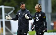 2 September 2019; Goalkeeping coach Gianluca Kohn with goalkeeper Grace Moloney during a Republic of Ireland WNT training session at Tallaght Stadium in Tallaght, Dublin. Photo by Piaras Ó Mídheach/Sportsfile