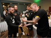 2 September 2019; The 2019 Open Champion Shane Lowry on a visit the Republic of Ireland team hotel in Dublin with Republic of Ireland players, from left, Jack Byrne, Seamus Coleman and James McClean. Photo by Stephen McCarthy/Sportsfile