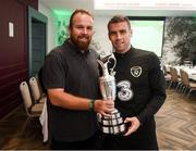 2 September 2019; The 2019 Open Champion Shane Lowry on a visit the Republic of Ireland team hotel in Dublin with Republic of Ireland captain Seamus Coleman. Photo by Stephen McCarthy/Sportsfile