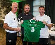 2 September 2019; The 2019 Open Champion Shane Lowry on a visit the Republic of Ireland team hotel in Dublin with Republic of Ireland manager Mick McCarthy and assistant coach Robbie Keane. Photo by Stephen McCarthy/Sportsfile
