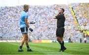 1 September 2019; Jonny Cooper of Dublin speaks with referee David Gough during the GAA Football All-Ireland Senior Championship Final match between Dublin and Kerry at Croke Park in Dublin. Photo by David Fitzgerald/Sportsfile