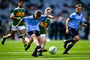 1 September 2019; Ceadach O'Neill, St. Columba's PS, Kilrea, Derry, representing Dublin, who scored a goal with this kick, and Seán Óg Bergin, The Don NS, Ballaghaderreen, Roscommon, representing Kerry, during the INTO Cumann na mBunscol GAA Respect Exhibition Go Games at the GAA Football All-Ireland Senior Championship Final match between Dublin and Kerry at Croke Park in Dublin. Photo by Ray McManus/Sportsfile