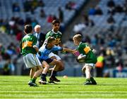 1 September 2019; Seán Óg Bergin, The Don NS, Ballaghaderreen, Roscommon, representing Kerry, and Ceadach O'Neill, St. Columba's PS, Kilrea, Derry, representing Dublin, during the INTO Cumann na mBunscol GAA Respect Exhibition Go Games at the GAA Football All-Ireland Senior Championship Final match between Dublin and Kerry at Croke Park in Dublin. Photo by Ray McManus/Sportsfile