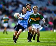 1 September 2019; Ceadach O'Neill, St. Columba's PS, Kilrea, Derry, representing Dublin, and Seán Óg Bergin, The Don NS, Ballaghaderreen, Roscommon, representing Kerry, during the INTO Cumann na mBunscol GAA Respect Exhibition Go Games at the GAA Football All-Ireland Senior Championship Final match between Dublin and Kerry at Croke Park in Dublin. Photo by Ray McManus/Sportsfile