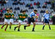 1 September 2019; Denjoe O'Riordan, Glantane NS, Mallow, Cork, representing Dublin, with Diarmuid McMahon, Lissycasey NS, Ennis, Clare, representing Kerry, and Michael Duffy, St. Patrick's PS, Derrygonnelly, Fermanagh, representing Kerry,left,  during the INTO Cumann na mBunscol GAA Respect Exhibition Go Games at the GAA Football All-Ireland Senior Championship Final match between Dublin and Kerry at Croke Park in Dublin. Photo by Ray McManus/Sportsfile