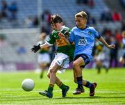 1 September 2019; Diarmuid McMahon, Lissycasey NS, Ennis, Clare, representing Kerry, and Ceadach O'Neill, St. Columba's PS, Kilrea, Derry, representing Dublin, during the INTO Cumann na mBunscol GAA Respect Exhibition Go Games at the GAA Football All-Ireland Senior Championship Final match between Dublin and Kerry at Croke Park in Dublin. Photo by Ray McManus/Sportsfile