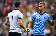 1 September 2019; Jonny Cooper of Dublin, right, speaks with team-mate Stephen Cluxton during the GAA Football All-Ireland Senior Championship Final match between Dublin and Kerry at Croke Park in Dublin. Photo by David Fitzgerald/Sportsfile