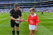1 September 2019; Referee Noel Mooney is presented with the match ball by Gearóid Linehan, Ballyhass NS, Castlemagner, Co, Cork, before the Electric Ireland GAA Football All-Ireland Minor Championship Final match between Cork and Galway at Croke Park in Dublin. Photo by Piaras Ó Mídheach/Sportsfile