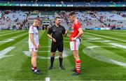 1 September 2019; Referee Noel Mooney with team captains Jonathan McGrath of Galway and Conor Corbett of Cork before the Electric Ireland GAA Football All-Ireland Minor Championship Final match between Cork and Galway at Croke Park in Dublin. Photo by Piaras Ó Mídheach/Sportsfile