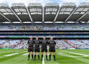 1 September 2019; Match officials, from left, sideline official Jerome Henry, linesman Paddy Neilan, referee Noel Mooney, and linesman Brendan Cawley before the Electric Ireland GAA Football All-Ireland Minor Championship Final match between Cork and Galway at Croke Park in Dublin. Photo by Piaras Ó Mídheach/Sportsfile