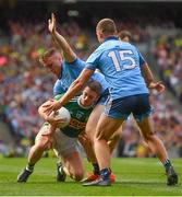 1 September 2019; Stephen O'Brien of Kerry is tackled by Paddy Small, left, and Ciarán Kilkenny of Dublin during the GAA Football All-Ireland Senior Championship Final match between Dublin and Kerry at Croke Park in Dublin. Photo by Ramsey Cardy/Sportsfile