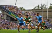 1 September 2019; Brian Ó Beaglaoich of Kerry in action against Michael Darragh Macauley/left James McCarthy of Dublin during the GAA Football All-Ireland Senior Championship Final match between Dublin and Kerry at Croke Park in Dublin. Photo by Ramsey Cardy/Sportsfile