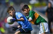 1 September 2019; Johnny Dillon, Rolestown NS, Rolestown, Dublin, representing Dublin, in action against  Stephen Murphy of Scoil Mhuire, Tallow, Co Waterford, representing Kerry, during the INTO Cumann na mBunscol GAA Respect Exhibition Go Games at the GAA Football All-Ireland Senior Championship Final match between Dublin and Kerry at Croke Park in Dublin. Photo by Piaras Ó Mídheach/Sportsfile