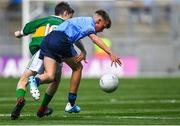 1 September 2019; Jamie Coakley, Bishop Foley NS, Station Rd, Carlow, representing Dublin, in action against Hugh Lenihan, St. Brendan's NS, Fenit, Kerry, representing Kerry, during the INTO Cumann na mBunscol GAA Respect Exhibition Go Games at the GAA Football All-Ireland Senior Championship Final match between Dublin and Kerry at Croke Park in Dublin. Photo by Piaras Ó Mídheach/Sportsfile