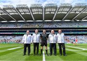 1 September 2019; Referee Noel Mooney with his umpires before the Electric Ireland GAA Football All-Ireland Minor Championship Final match between Cork and Galway at Croke Park in Dublin. Photo by Piaras Ó Mídheach/Sportsfile