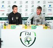 3 September 2019; Republic of Ireland manager Stephen Kenny and media officer Kieran Crowley during a Republic of Ireland U21's press conference at the FAI National Training Centre in Abbotstown, Dublin. Photo by Stephen McCarthy/Sportsfile