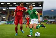 3 September 2019; Katie McCabe of Republic of Ireland in action against Tatjana Djurkovic of Montenegro during the UEFA Women's 2021 European Championships Qualifier - Group I match between Republic of Ireland and Montenegro at Tallaght Stadium in Dublin. Photo by Stephen McCarthy/Sportsfile