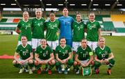 3 September 2019; The Republic of Ireland team, back row, from left, Diane Caldwell, Louise Quinn, Rianna Jarrett, Marie Hourihan, Niamh Fahey and Jessica Gargan. Front row, from left, Claire O'Riordan, Tyler Toland, Harriet Scott, Katie McCabe and Denise O'Sullivan prior to the UEFA Women's 2021 European Championships Qualifier - Group I match between Republic of Ireland and Montenegro at Tallaght Stadium in Dublin. Photo by Stephen McCarthy/Sportsfile