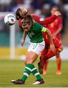 3 September 2019; Katie McCabe of Republic of Ireland in action against Aleksandra Popovic of Montenegro during the UEFA Women's 2021 European Championships Qualifier - Group I match between Republic of Ireland and Montenegro at Tallaght Stadium in Dublin. Photo by Stephen McCarthy/Sportsfile