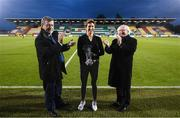 3 September 2019; President of Ireland Michael D. Higgins, right, and FAI President Donal Conway, left, make a presentation to referee Michelle O'Neill at half-time of the UEFA Women's 2021 European Championships Qualifier - Group I match between Republic of Ireland and Montenegro at Tallaght Stadium in Dublin. Photo by Stephen McCarthy/Sportsfile