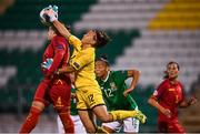 3 September 2019; Ivana Cabarkapa of Montenegro clears ahead of team-mate Maja Šaranovic, left, and Rianna Jarrett of Republic of Ireland during the UEFA Women's 2021 European Championships Qualifier - Group I match between Republic of Ireland and Montenegro at Tallaght Stadium in Dublin. Photo by Stephen McCarthy/Sportsfile