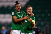 3 September 2019; Katie McCabe of Republic of Ireland celebrates after scoring her side's second goal, a penalty, with team-mate Rianna Jarrett during the UEFA Women's 2021 European Championships Qualifier - Group I match between Republic of Ireland and Montenegro at Tallaght Stadium in Dublin. Photo by Stephen McCarthy/Sportsfile