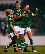 3 September 2019; Katie McCabe of Republic of Ireland celebrates after scoring her side's second goal, a penalty, with team-mates Rianna Jarrett, centre, and Denise O'Sullivan, left, during the UEFA Women's 2021 European Championships Qualifier - Group I match between Republic of Ireland and Montenegro at Tallaght Stadium in Dublin. Photo by Stephen McCarthy/Sportsfile