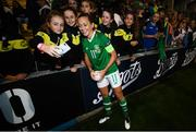 3 September 2019; Katie McCabe of Republic of Ireland with supporters following the UEFA Women's 2021 European Championships Qualifier - Group I match between Republic of Ireland and Montenegro at Tallaght Stadium in Dublin. Photo by Stephen McCarthy/Sportsfile