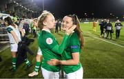 3 September 2019; Tyler Toland of Republic of Ireland, right, with team-mate Amber Barrett following the UEFA Women's 2021 European Championships Qualifier - Group I match between Republic of Ireland and Montenegro at Tallaght Stadium in Dublin. Photo by Stephen McCarthy/Sportsfile