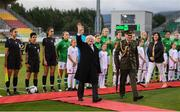 3 September 2019; President of Ireland Michael D Higgins waves to the crowd prior to the UEFA Women's 2021 European Championships Qualifier Group I match between Republic of Ireland and Montenegro at Tallaght Stadium in Dublin. Photo by Stephen McCarthy/Sportsfile