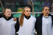 3 September 2019; Republic of Ireland players, from left, Amber Barrett, Grace Moloney and Megan Connolly during the UEFA Women's 2021 European Championships Qualifier Group I match between Republic of Ireland and Montenegro at Tallaght Stadium in Dublin. Photo by Stephen McCarthy/Sportsfile