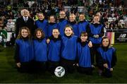 3 September 2019; Ballkids with President of Ireland Michael D Higgins during the UEFA Women's 2021 European Championships Qualifier Group I match between Republic of Ireland and Montenegro at Tallaght Stadium in Dublin. Photo by Stephen McCarthy/Sportsfile