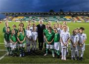 3 September 2019; Mascots with President of Ireland Michael D Higgins during the UEFA Women's 2021 European Championships Qualifier Group I match between Republic of Ireland and Montenegro at Tallaght Stadium in Dublin. Photo by Stephen McCarthy/Sportsfile