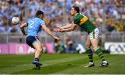 1 September 2019; David Moran of Kerry in action against David Byrne of Dublin during the GAA Football All-Ireland Senior Championship Final match between Dublin and Kerry at Croke Park in Dublin. Photo by Piaras Ó Mídheach/Sportsfile