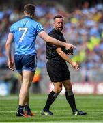 1 September 2019; Referee David Gough in conversation with John Small of Dublin during the GAA Football All-Ireland Senior Championship Final match between Dublin and Kerry at Croke Park in Dublin. Photo by Piaras Ó Mídheach/Sportsfile