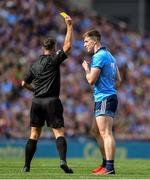 1 September 2019; Referee David Gough shows the yellow card to John Small of Dublin during the GAA Football All-Ireland Senior Championship Final match between Dublin and Kerry at Croke Park in Dublin. Photo by Piaras Ó Mídheach/Sportsfile