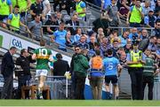 1 September 2019; Jonny Cooper of Dublin, who was sent off late in the first half, makes his way down the steps and to the dressing room at half-time, during the GAA Football All-Ireland Senior Championship Final match between Dublin and Kerry at Croke Park in Dublin. Photo by Piaras Ó Mídheach/Sportsfile