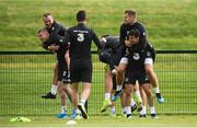 4 September 2019; Republic of Ireland players, from left, James McClean, Glenn Whelan, James Collins and Josh Cullen during a Republic of Ireland training session at the FAI National Training Centre in Abbotstown, Dublin. Photo by Stephen McCarthy/Sportsfile