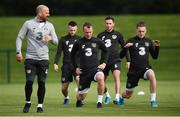 4 September 2019; Republic of Ireland fitness coach Andy Liddle with players, from left, Jack Byrne, Glenn Whelan, Alan Browne and Ronan Curtis during a Republic of Ireland training session at the FAI National Training Centre in Abbotstown, Dublin. Photo by Stephen McCarthy/Sportsfile