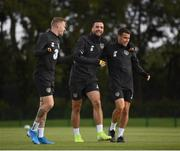 4 September 2019; Republic of Ireland players, from left, James McClean, Shane Duffy and Seamus Coleman during a Republic of Ireland training session at the FAI National Training Centre in Abbotstown, Dublin. Photo by Stephen McCarthy/Sportsfile