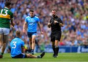 1 September 2019; Referee David Gough before showing a second yellow card to Jonny Cooper of Dublin, before showing him the red card, for fouls on David Clifford of Kerry, left, during the GAA Football All-Ireland Senior Championship Final match between Dublin and Kerry at Croke Park in Dublin. Photo by Piaras Ó Mídheach/Sportsfile