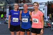 4 September 2019; Top 3 female finishers, from left, second place finisher Ciara Brady of KPMG, first place finisher Jill Hodgins of Goodbody, and third finisher Catherine Thornton of AIB after competing in the Grant Thornton Corporate 5K Team Challenge - Dublin Docklands 2019 at the Docklands in Dublin. Photo by Matt Browne/Sportsfile