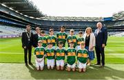 1 September 2019; INTO President Fergal Broughan, Cumann na mBunscol Chairperson Mairead O'Callaghan, President of the LGFA Marie Hickey, Uachtarán Chumann Lúthchleas Gael John Horan, with the Kerry team, back row, left to right, Stephen Murphy, Scoil Mhuire, Tallow, Co Waterford, Killian Mulvey, Fenagh NS, Ballinamore, Leitrim, Kevin Fakova, Loch Gowna NS, Gowna, Cavan, Colm O'Mahoney, St. Mary's CBS, Clonmel, Tipperary, Eoghan Nerey, Scoil Naomh Mhuire, Keash, Ballymote, Sligo, front row, left to right, Michael Duffy, St. Patrick's PS, Derrygonnelly, Fermanagh, Diarmuid McMahon, Lissycasey NS, Ennis, Clare, Seaghan McCormaick, Scoil Tabhóg, An Chlochán, Leifir, Dún na nGall, Hugh Lenihan, St. Brendan's NS, Fenit, Kerry, Seán Óg Bergin, The Don NS, Ballaghaderreen, Roscommon, ahead of the INTO Cumann na mBunscol GAA Respect Exhibition Go Games at the GAA Football All-Ireland Senior Championship Final match between Dublin and Kerry at Croke Park in Dublin. Photo by Daire Brennan/Sportsfile