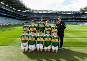 1 September 2019; The Kerry team, back row, left to right, Stephen Murphy, Scoil Mhuire, Tallow, Co Waterford, Killian Mulvey, Fenagh NS, Ballinamore, Leitrim, Kevin Fakova, Loch Gowna NS, Gowna, Cavan, Colm O'Mahoney, St. Mary's CBS, Clonmel, Tipperary, Eoghan Nerey, Scoil Naomh Mhuire, Keash, Ballymote, Sligo, front row, left to right, Michael Duffy, St. Patrick's PS, Derrygonnelly, Fermanagh, Diarmuid McMahon, Lissycasey NS, Ennis, Clare, Seaghan McCormaick, Scoil Tabhóg, An Chlochán, Leifir, Dún na nGall, Hugh Lenihan, St. Brendan's NS, Fenit, Kerry, Seán Óg Bergin, The Don NS, Ballaghaderreen, Roscommon, ahead of the INTO Cumann na mBunscol GAA Respect Exhibition Go Games at the GAA Football All-Ireland Senior Championship Final match between Dublin and Kerry at Croke Park in Dublin. Photo by Daire Brennan/Sportsfile