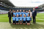 1 September 2019; INTO President Fergal Broughan, Cumann na mBunscol Chairperson Mairead O'Callaghan, President of the LGFA Marie Hickey, Uachtarán Chumann Lúthchleas Gael John Horan, with the Dublin team, back row, left to right, Eimear Igoe, St. Teresa's NS, Clontumpher, Ballinalee, Longford, Lucy Ní Eidhin, Gaelscoil an Mhuilinn, An Muileann Cearr, An Iarmhí, Niamh Andrews, St. Patrick's NS, Castleknock, Dublin, Olivia Shannon, St. Brigid's, Tinahely, Wicklow, Nicole Pierce, Scoil Mhuire, Clondalkin, Dublin, front row, left to right, Leah Tyrrell, Scoil Bhríde, Kilcullen, Kildare, Faith McDermott, Durrow NS, Durrow, Tullamore, Offaly, Ava Lily O'Neill, Dunamaggin NS, Dunamaggin, Kilkenny, Fiona Murphy, Scoil an Chroi Ró Naofa, Castletownbere, Cork, Anna Murphy, St Colman's, Stradbally, Laois, ahead of the INTO Cumann na mBunscol GAA Respect Exhibition Go Games at the GAA Football All-Ireland Senior Championship Final match between Dublin and Kerry at Croke Park in Dublin. Photo by Daire Brennan/Sportsfile