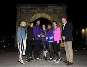 4 September 2019; Grant Thornton ambassador Brian Gregan and Ciara Bourke, head of sales and marketing with Grant Thornton present The Brown Brothers Harriman & Co team from left Catherine Brogan, Zoe Quinn and Davina Deering who came third in the ladies Grant Thornton Corporate 5K Team Challenge also pictured are Louisa MacKenzie from Dublin Simon Community and CEO of Athletics Ireland Hamish Adams at the Grant Thornton Corporate 5K Team Challenge - Dublin Docklands 2019 at the Docklands in Dublin. Photo by Matt Browne/Sportsfile