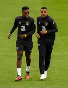 5 September 2019; Jonathan Afolabi, left, and Adam Idah during a Republic of Ireland U21's Training Session at Tallaght Stadium in Dublin. Photo by Eóin Noonan/Sportsfile